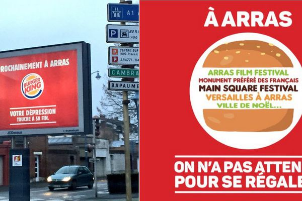L'affiche de Burger King et la réponse de la ville.