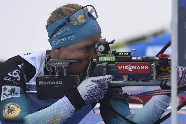 La Jurassienne Anaïs Bescond ce samedi lors de l'épreuve de relais au biathlon
