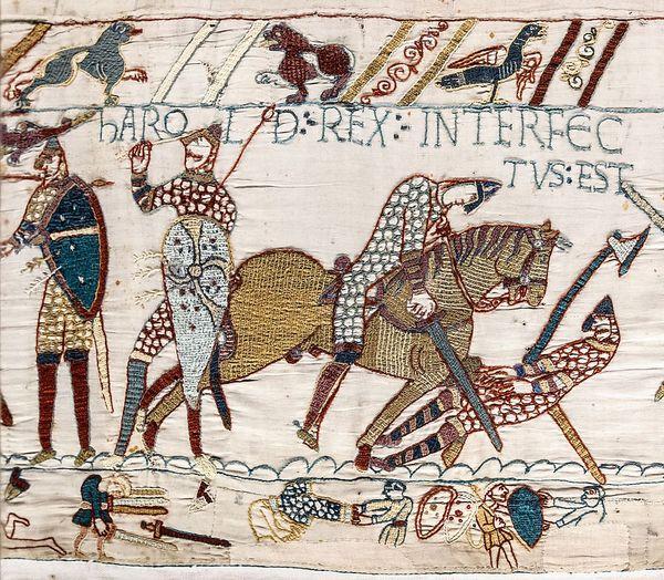 La mort d'Harold lors de la bataille d'Hastings, selon la tapisserie de Bayeux.