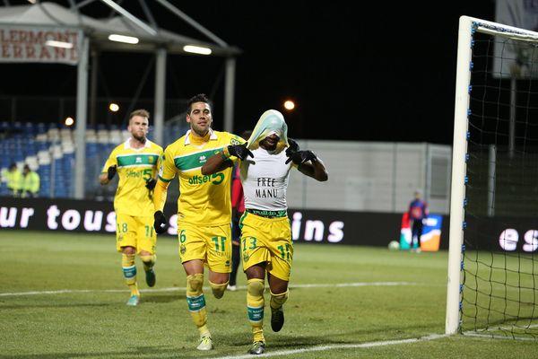 La joie de S. Gakpé qui vient de marquer le seul et unique but face Clermont