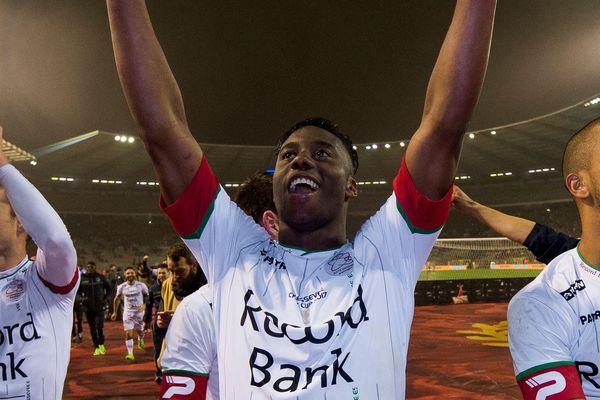Soualiho Meïté après la victoire de Zulte Waregem en Coupe de Belgique cette année