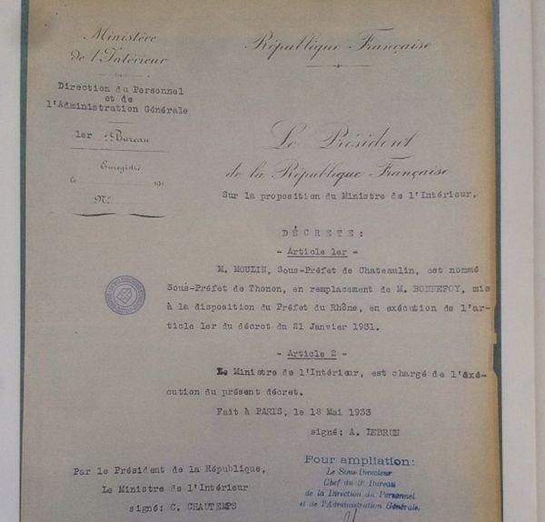 Le décret de nomination de Jean Moulin