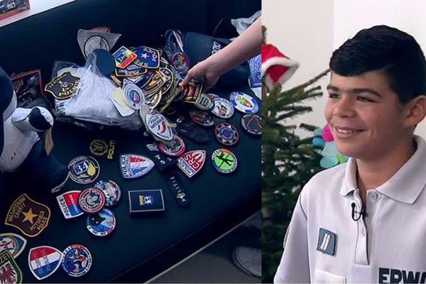 Le jeune Erwan a reçu des écussons de police venus de 66 pays.