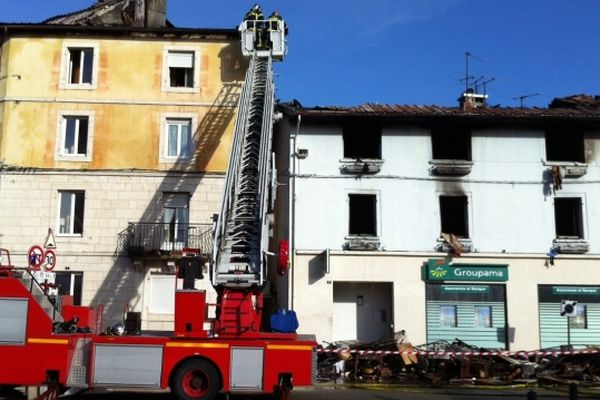 Incendie au centre de  Saint-Laurent en Grandvaux dans le Jura