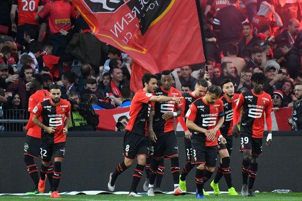 Les joueurs rennais lors de leur victoire face à Lille lors du dernier match de la saison - 24/05/2019