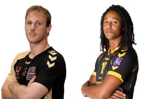 Grégoire Detrez (à gauche), et Thimothey N'Guessan ont été sélectionnés en équipe de France de handball pour le mondial espagnol