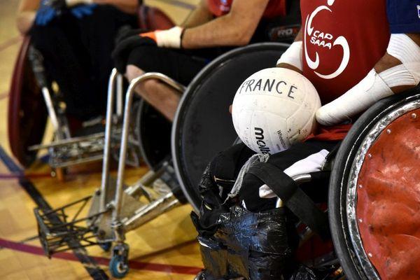Un stage de préparation de l'équipe de France de rugby-fauteuil avant les jeux paralympiques de Rio en 2016
