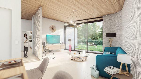 Ces deux bâtiments sont sur un site qui accueille des maisons neuves réalisées dans du béton 3D. Intérieur d'un logement, fabriqué en 3 D, fonctionnel, moderne et lumineux.