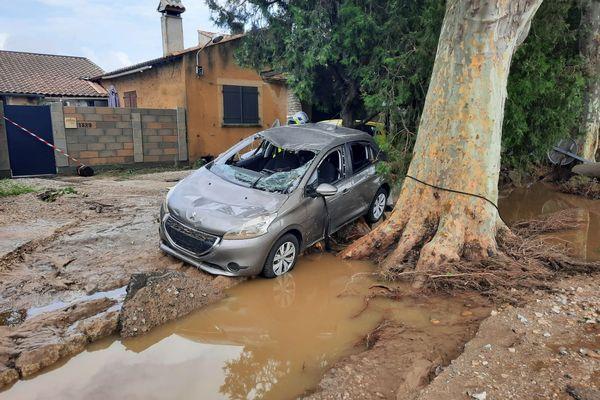 Dégâts des inondations à Aigues-Vives (Gard) le 14 septembre 2021