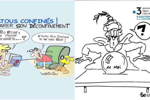 """Jean-Jacques Beltramo propose de trouver la légende et les dialogues de ses dessins et Kristian de rester """"Tous confinés"""" mais en s'amusant !"""