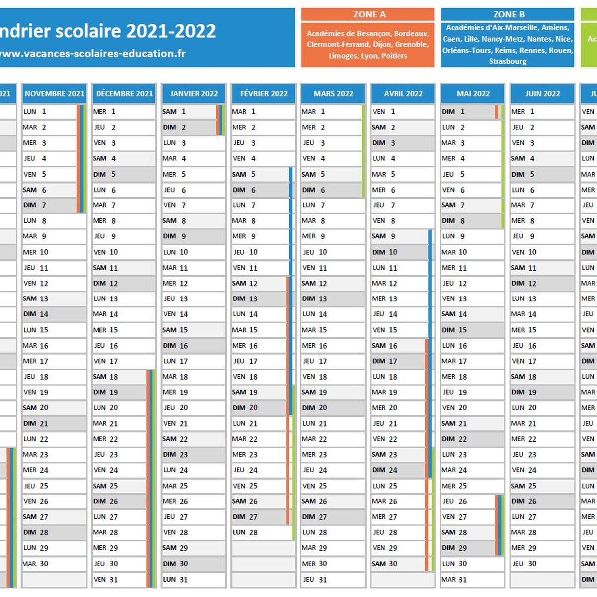 Calendrier Vacances Zone B 2022 Éducation : téléchargez le calendrier scolaire officiel et les