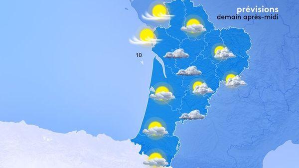 """C'est en Charente-Maritime et vers le Médoc qu'il fera """"le plus beau"""" demain après-midi."""