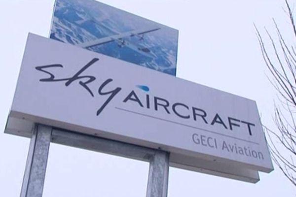 Panneau de l'entreprise Sky Aircraft à Chambley