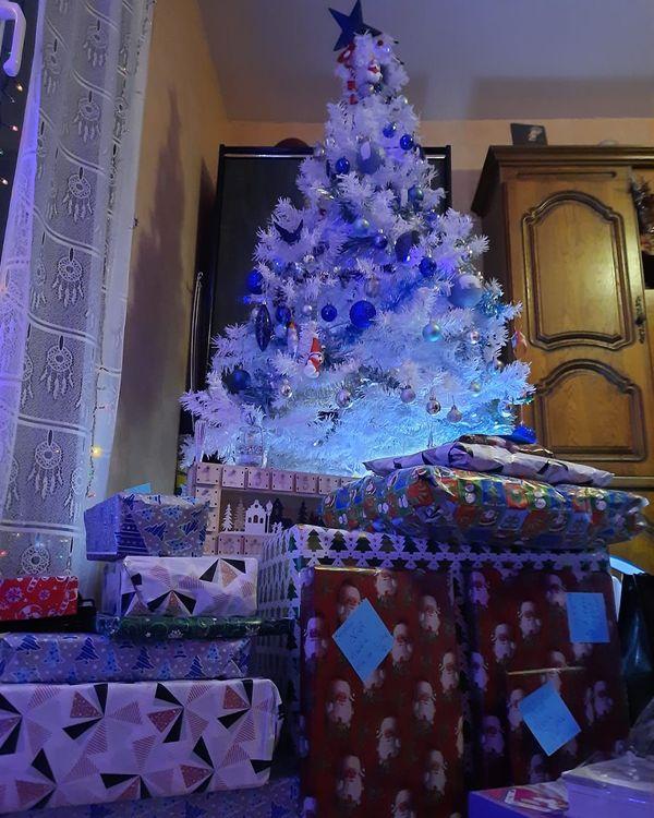 Une dizaine de gros cadeaux sous le sapin glacé d'Élodie.