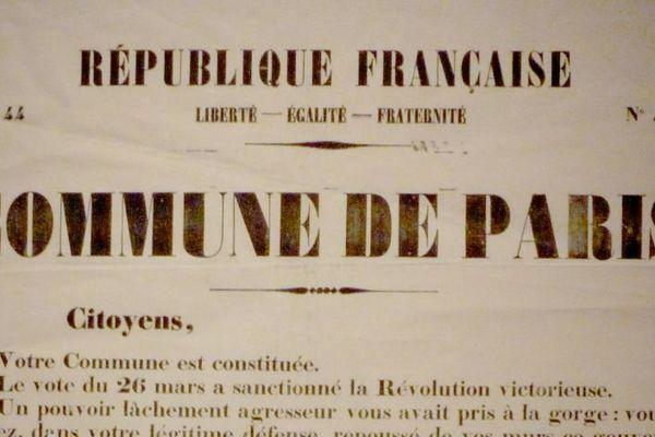 Affiche de la proclamation de la Commune de Paris, le 29 mars 1871, où est exposé son programme politique et social.