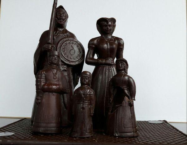 Famille Gayant, tout en chocolat, créée par Charlotte, artisan chocolatier de Douai