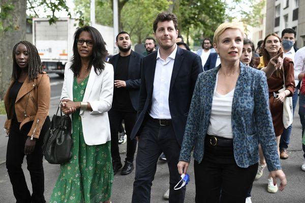 Les trois candidats aux régionales en Île-de-France : Audrey Pulvar (PS), Julien Bayou (EELV) et Clémentine Autain (LFI-PCF) ce lundi à Aubervilliers.