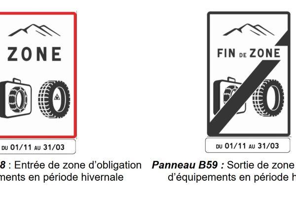 Ces panneaux signaleront les entrées et sorties de zones routières où il est obligatoire d'être équipé en pneus neiges ou pneus 4 saisons réglementaires (voir plus bas).