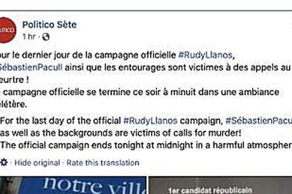 Un prétendu média a posté de fausses informations pendant la campagne électorale à Sète