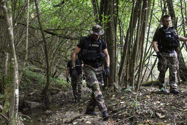 Les gendarmes recherchent des traces de Maëlys, dans la forêt du Pont-de-Beauvoisin, le 30 août 2017. (PHILIPPE DESMAZES / AFP)