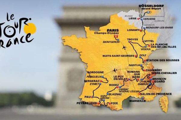 Le parcours du Tour de France 2017, présenté à Paris le 18 octobre 2016.