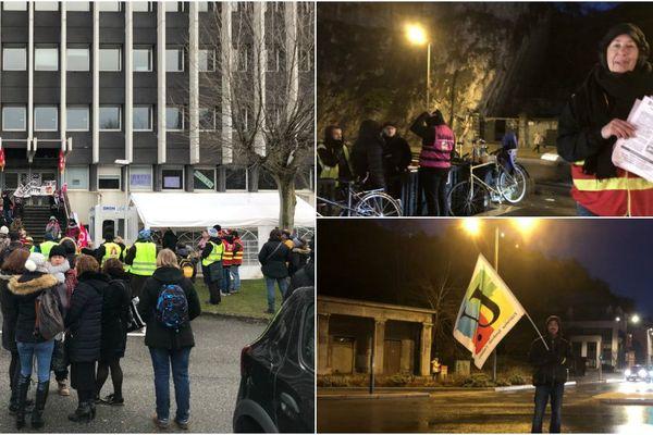 Les opposants à la réforme des retraites ont organisé des opérations de tractage et de blocage à Grenoble ce vendredi matin