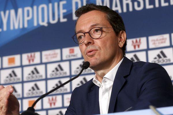 Le président du club Jacques-Henri Eyraud en conférence de presse début septembre.
