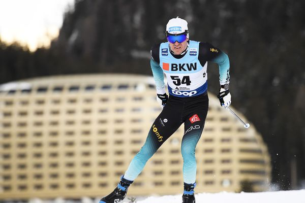 Maurice Manificat, à Davos, en Suisse, lors d'une étape de Coupe du monde le 15 décembre 2019.