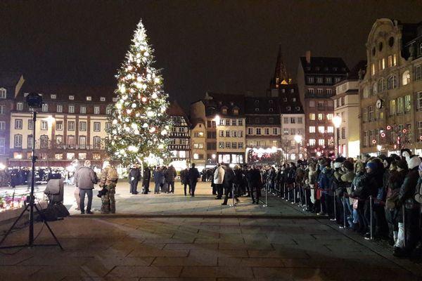 La place Kléber le 14 décembre 2018, trois jours après l'attentat de Strasbourg.
