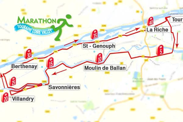 Le parcours du marathon de Tours 2016.