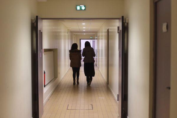 Les couloirs du lycée musulman Averroès de Lille.