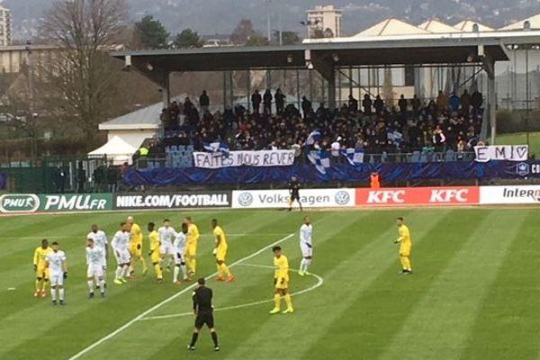 Sur la pelouse du stade Michel-Hidalgo à Saint-Gratien, l'Entente S.S.G face au FC Nantes, le 2 février 2019.