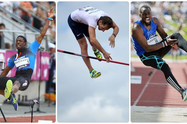 Bertrand, Lavillenie, Tamgho lors du championnat de France d'athlétisme à Angers