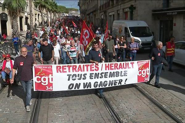 A Montpellier, le cortège des manifestants contre la réforme des retraites, ce mardi.