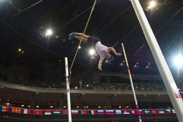 Renaud Lavillenie, Championnats d'Europe d'athlétisme en salle, vendredi, à Prague.