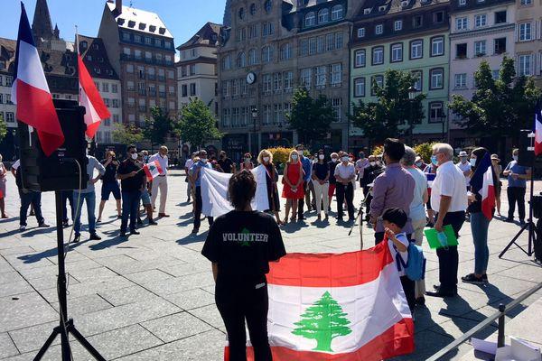 Un second rassemblement pour le Liban sur la place Kléber.