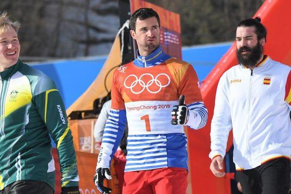 Pierre Vaultier, médaille d'or de l'épreuve de snowboardcross au JO d'hiver de Pyeongchang