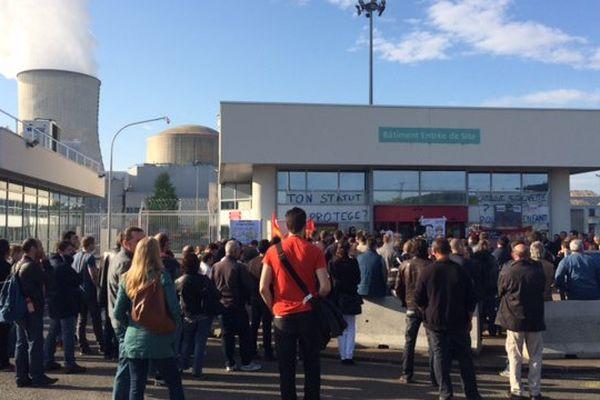 L'entrée de la centrale de Civaux a été bloquée de 8h à 9h ce jeudi matin par les grévistes.