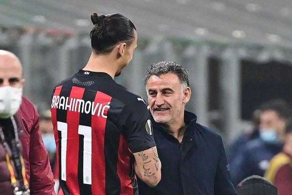 Christophe Galtier, l'entraîneur lillois, avec Zlatan Ibrahimovic, le 5 novembre 2020, lors de la victoire historique du Losc contre le Milan AC (3-0).