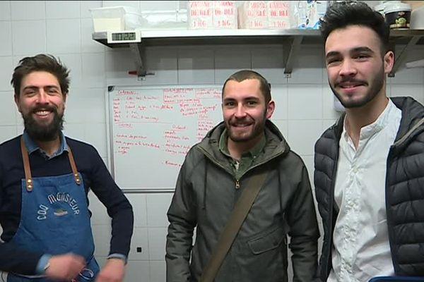 """Hubert co-gérant du restaurant """"Coq Monsieur"""" à Nantes  / Augustin Brahimi et Alexis Brochu créateurs de Green Food Label"""