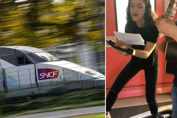 Camille Lellouche chante les annonces dans le TGV Calais-Paris