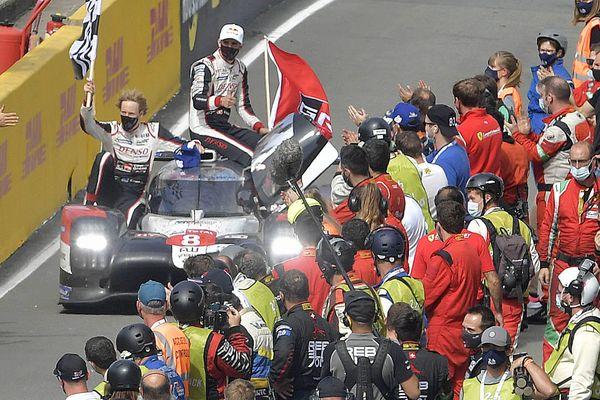 24 Heures du Mans 2020, la Toyota TS05 victorieuse avec Sébastien Buemi (Suisse) Kazuki Nakajima (Japon) Brendon Hartley (Nouvelle-Zélande)