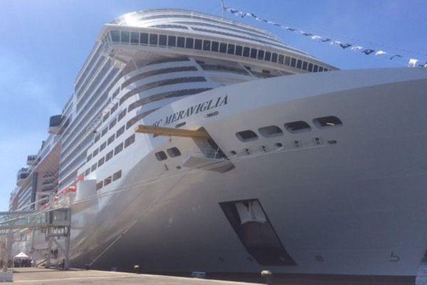 Le MSC Meraviglia, lors de son escale à Marseille, le 10 juin 2017