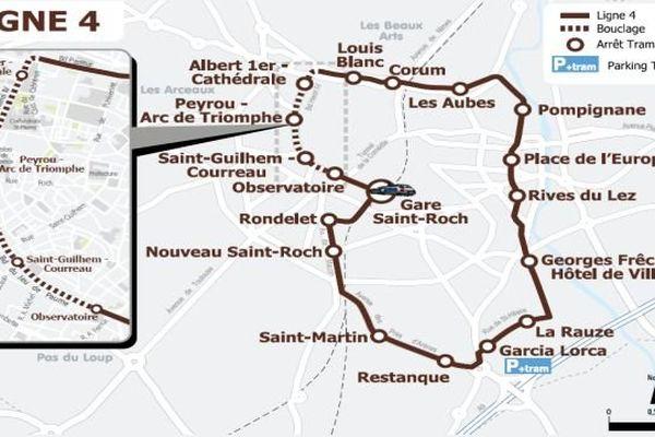 Le tracé de la ligne 4 du tramway de Montpellier
