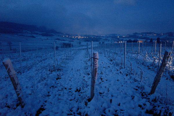 Le vignoble du Jura sous la neige, 7 avril 2021.