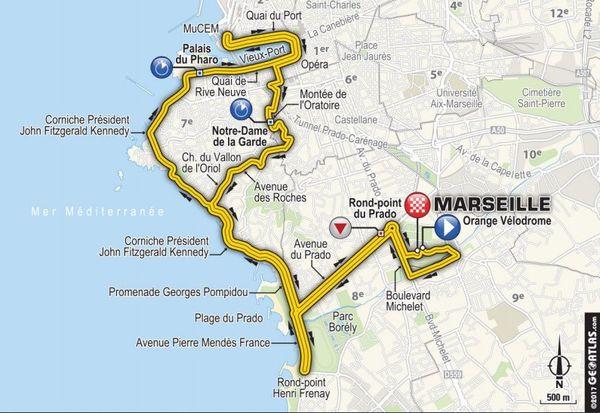 Le parcours de la 20ième étape à Marseille