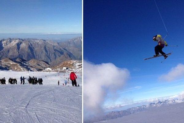 Pistes et snow park (ici à ski) aux 2 Alpes, samedi 25 octobre.