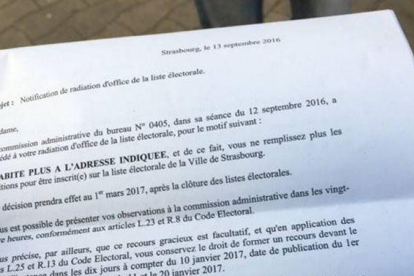 """Le courrier initialement reçu par les """"radiés"""" strasbourgeois des listes électorales"""