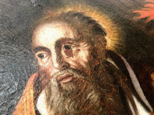 Le tableau est arrivé très dégradé à l'atelier. En témoigne le visage de Saint Augustin.