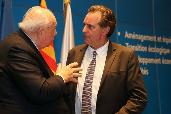 Renaud Muselier, président de la région PACA et Jean-Claude Gaudin, maire de Marseille en février 2018.